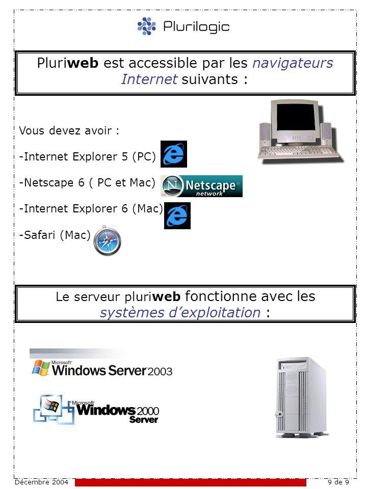 Décembre 20049 de 9 Pluriweb est accessible par les navigateurs Internet suivants : Le serveur pluriweb fonctionne avec les systèmes dexploitation : Vous devez avoir : -Internet Explorer 5 (PC) -Netscape 6 ( PC et Mac) -Internet Explorer 6 (Mac) -Safari (Mac)