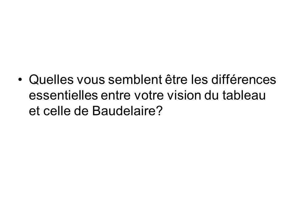 Quelles vous semblent être les différences essentielles entre votre vision du tableau et celle de Baudelaire?