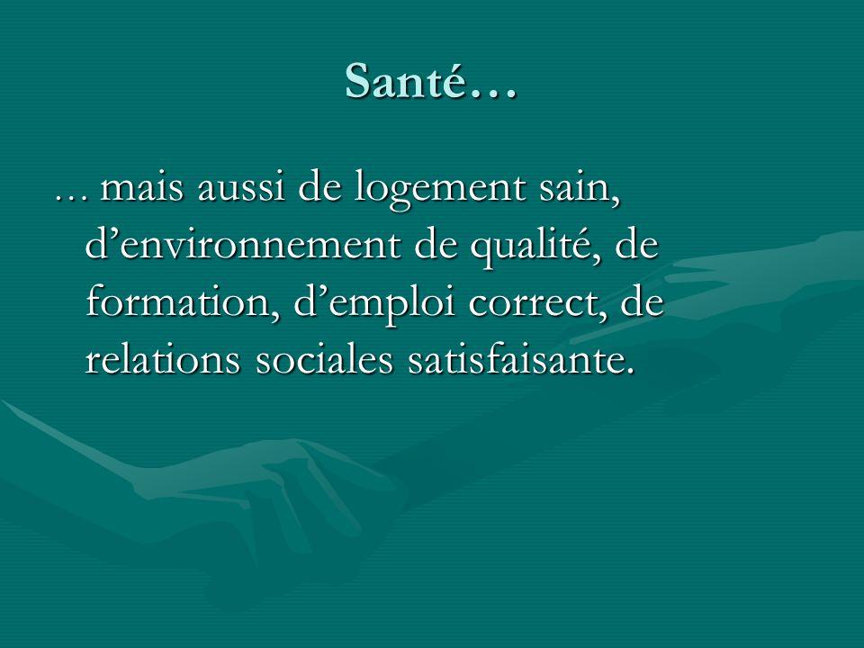 Santé… … mais aussi de logement sain, denvironnement de qualité, de formation, demploi correct, de relations sociales satisfaisante.