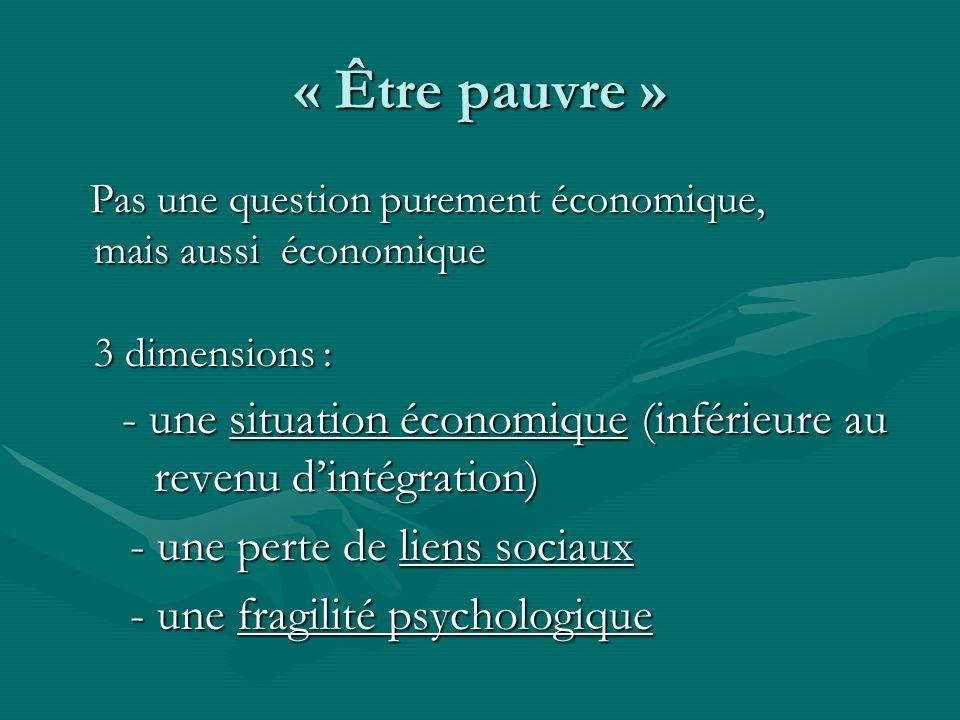 « Être pauvre » Pas une question purement économique, mais aussi économique 3 dimensions : Pas une question purement économique, mais aussi économique