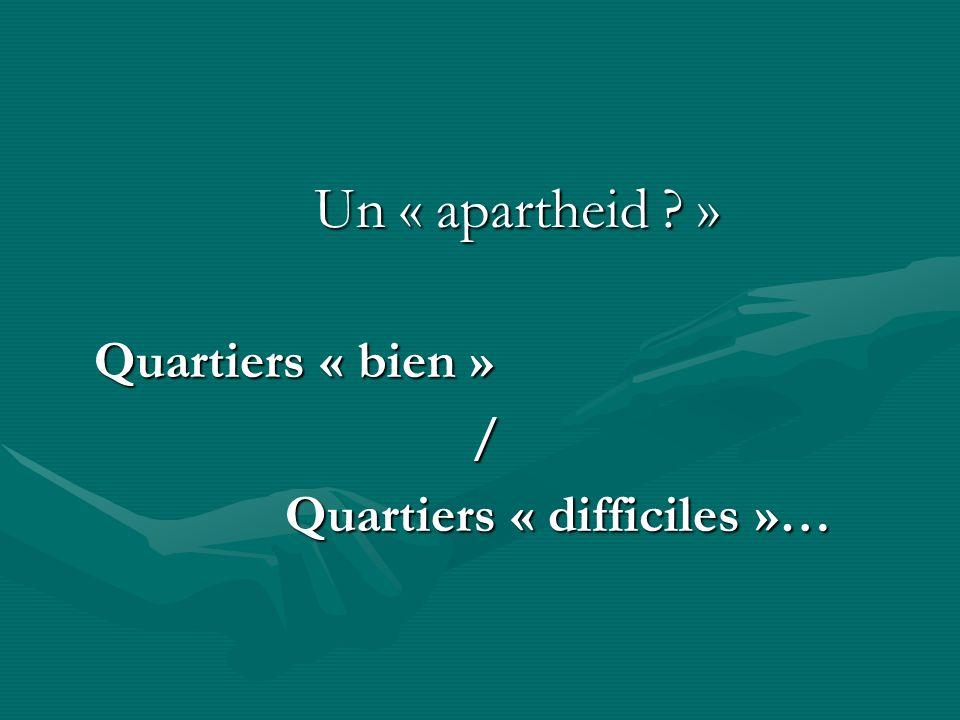 Un « apartheid ? » Un « apartheid ? » Quartiers « bien » / Quartiers « difficiles »… Quartiers « difficiles »…