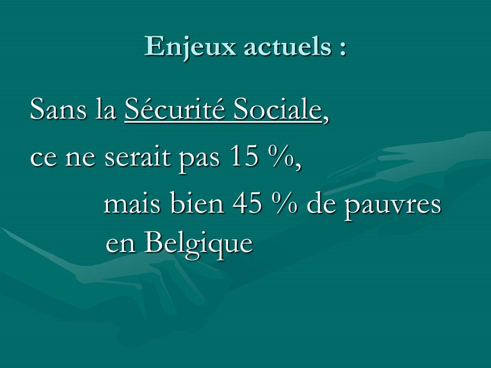 Enjeux actuels : Sans la Sécurité Sociale, ce ne serait pas 15 %, mais bien 45 % de pauvres en Belgique mais bien 45 % de pauvres en Belgique