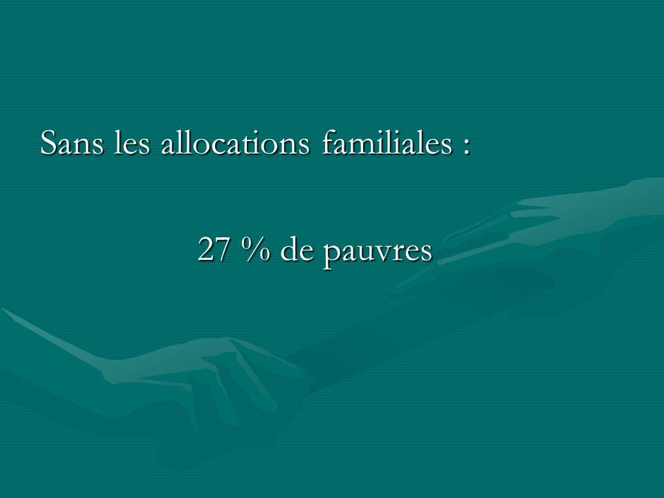 Sans les allocations familiales : 27 % de pauvres 27 % de pauvres