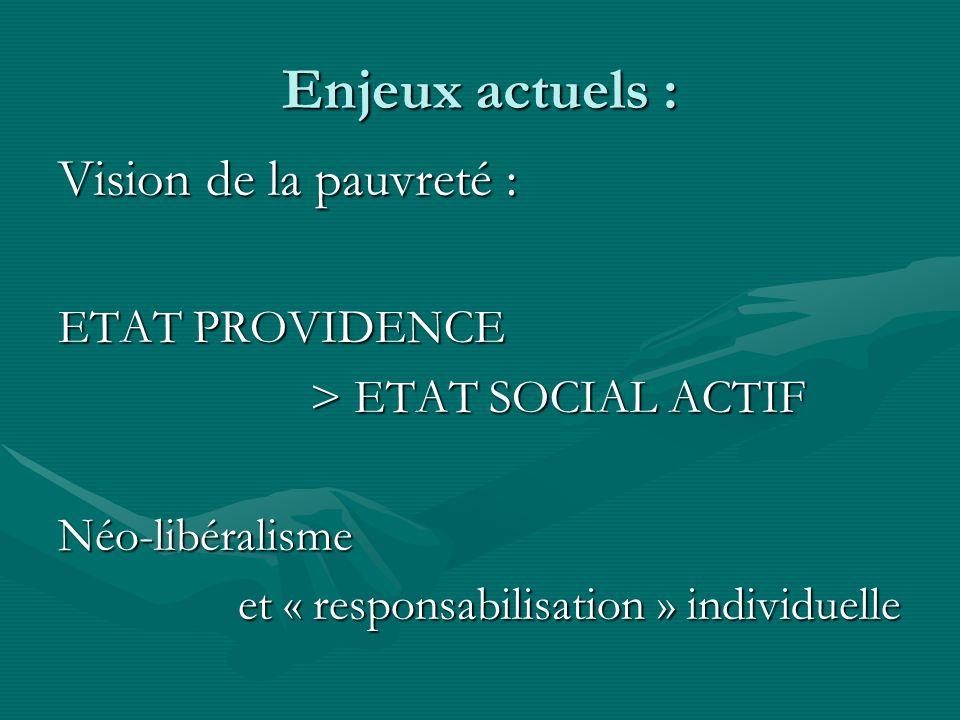 Enjeux actuels : Vision de la pauvreté : ETAT PROVIDENCE > ETAT SOCIAL ACTIF > ETAT SOCIAL ACTIFNéo-libéralisme et « responsabilisation » individuelle