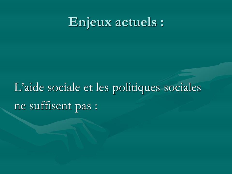 Enjeux actuels : Laide sociale et les politiques sociales ne suffisent pas :