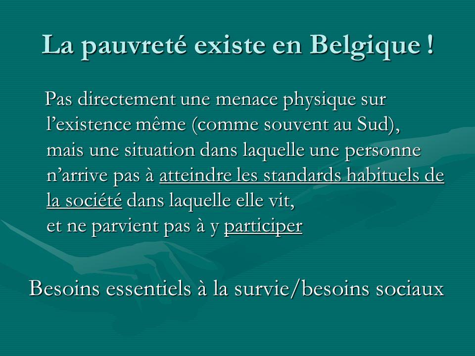 La pauvreté existe en Belgique ! Pas directement une menace physique sur lexistence même (comme souvent au Sud), mais une situation dans laquelle une
