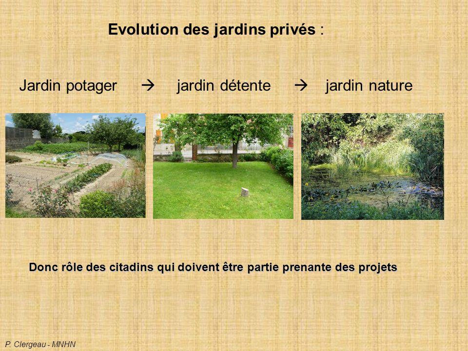 Evolution des jardins privés : Jardin potager jardin détente jardin nature P.