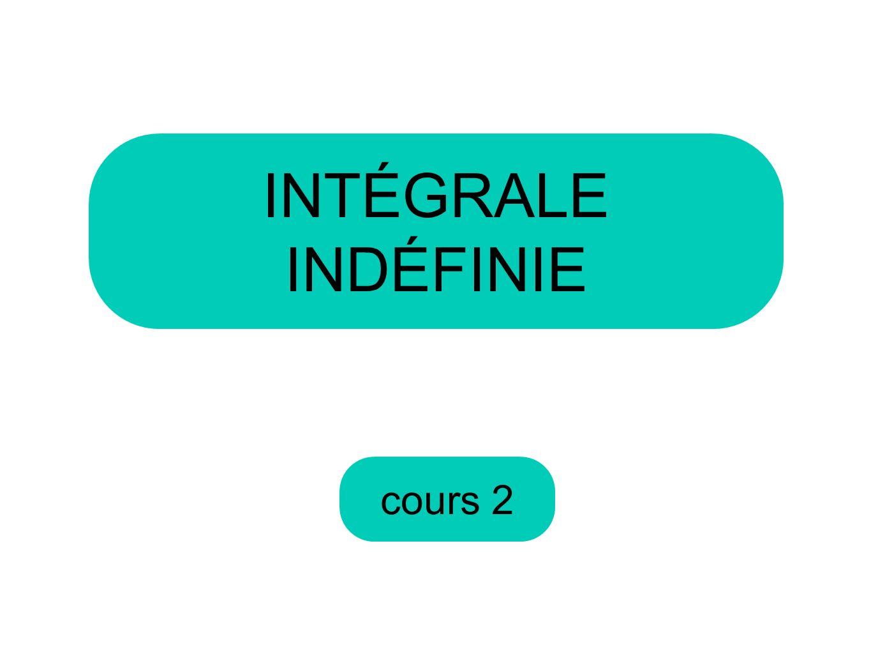 cours 2 INTÉGRALE INDÉFINIE