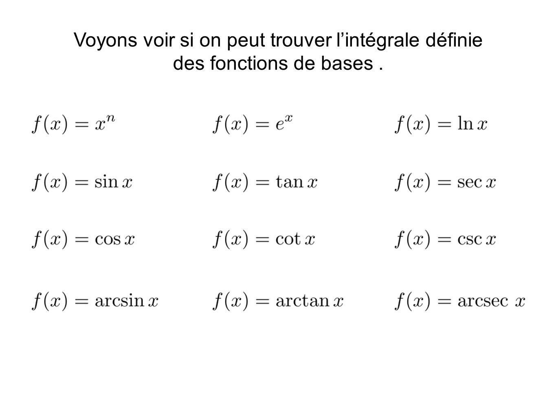 Voyons voir si on peut trouver lintégrale définie des fonctions de bases.