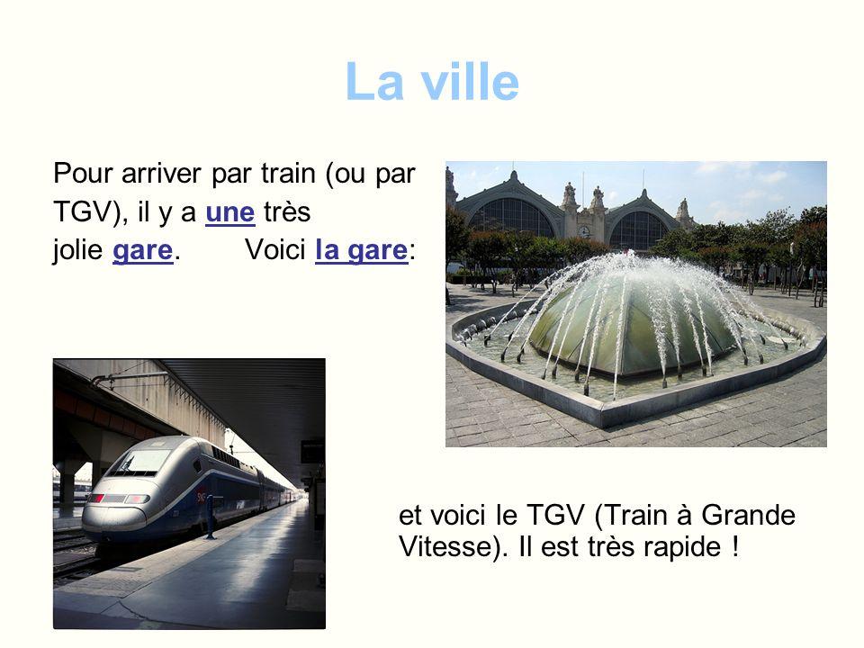 La ville Pour arriver par train (ou par TGV), il y a une très jolie gare. Voici la gare: et voici le TGV (Train à Grande Vitesse). Il est très rapide