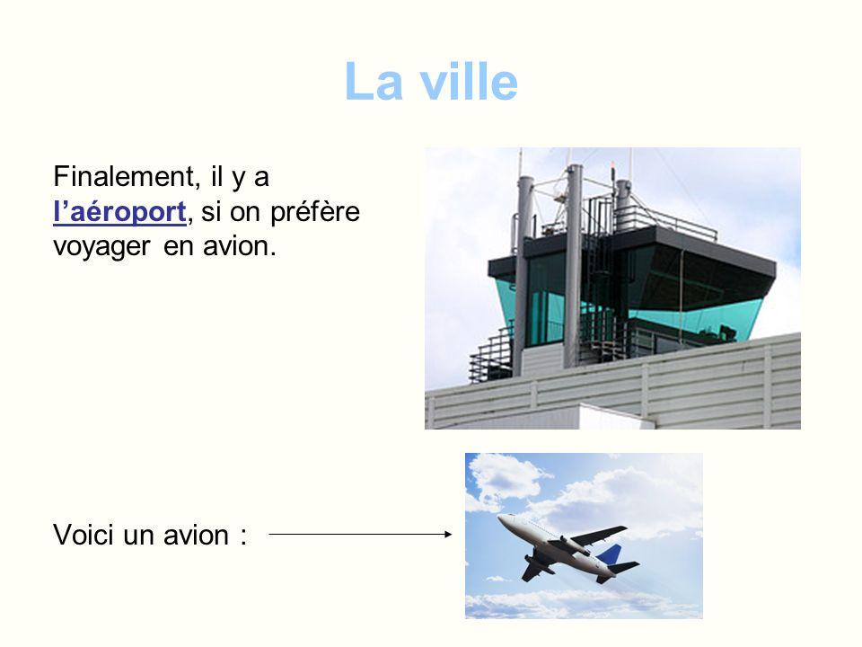 La ville Finalement, il y a laéroport, si on préfère voyager en avion. Voici un avion :