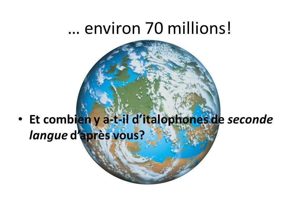 … environ 70 millions! Et combien y a-t-il ditalophones de seconde langue daprès vous
