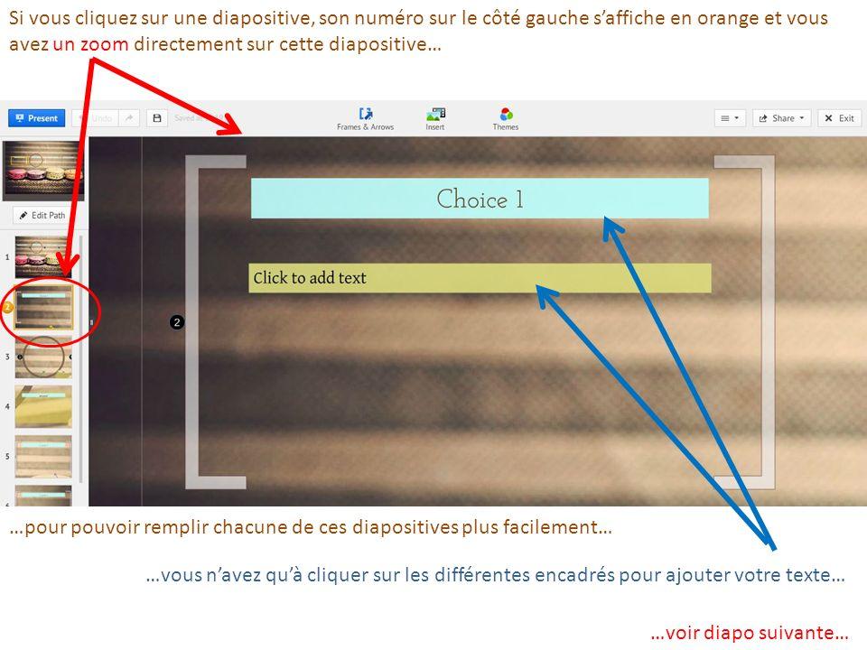 Si vous cliquez sur une diapositive, son numéro sur le côté gauche saffiche en orange et vous avez un zoom directement sur cette diapositive… …pour po