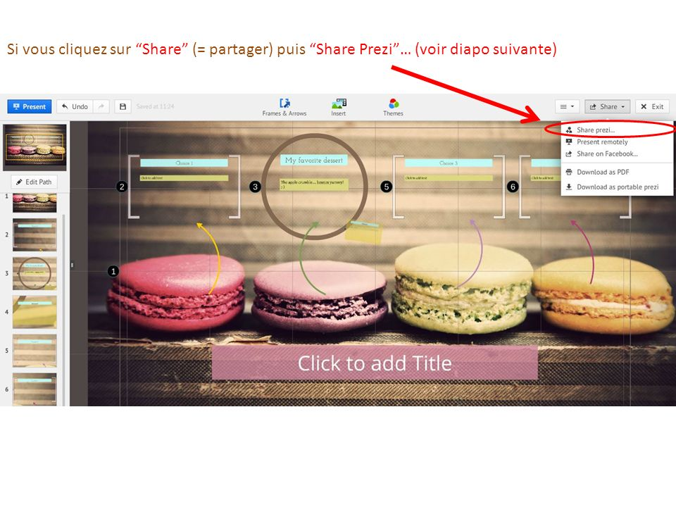 Si vous cliquez sur Share (= partager) puis Share Prezi… (voir diapo suivante)