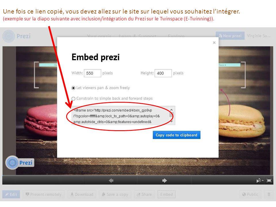 Une fois ce lien copié, vous devez allez sur le site sur lequel vous souhaitez lintégrer. (exemple sur la diapo suivante avec inclusion/intégration du
