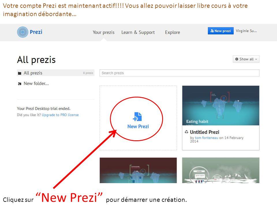 Votre compte Prezi est maintenant actif!!!! Vous allez pouvoir laisser libre cours à votre imagination débordante… Cliquez sur New Prezi pour démarrer