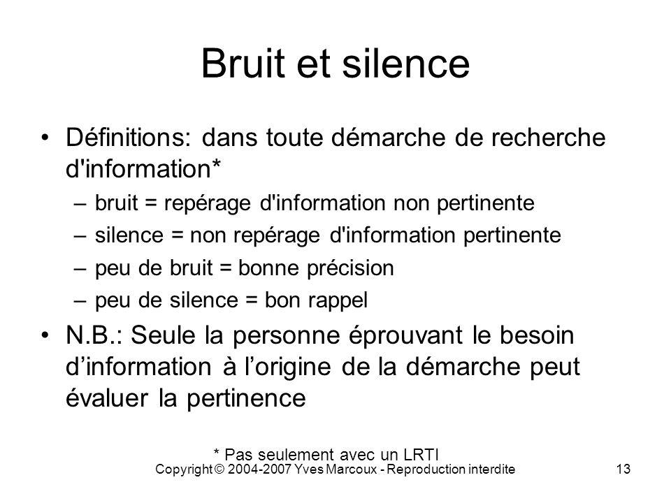 Copyright © 2004-2007 Yves Marcoux - Reproduction interdite13 Bruit et silence Définitions: dans toute démarche de recherche d'information* –bruit = r
