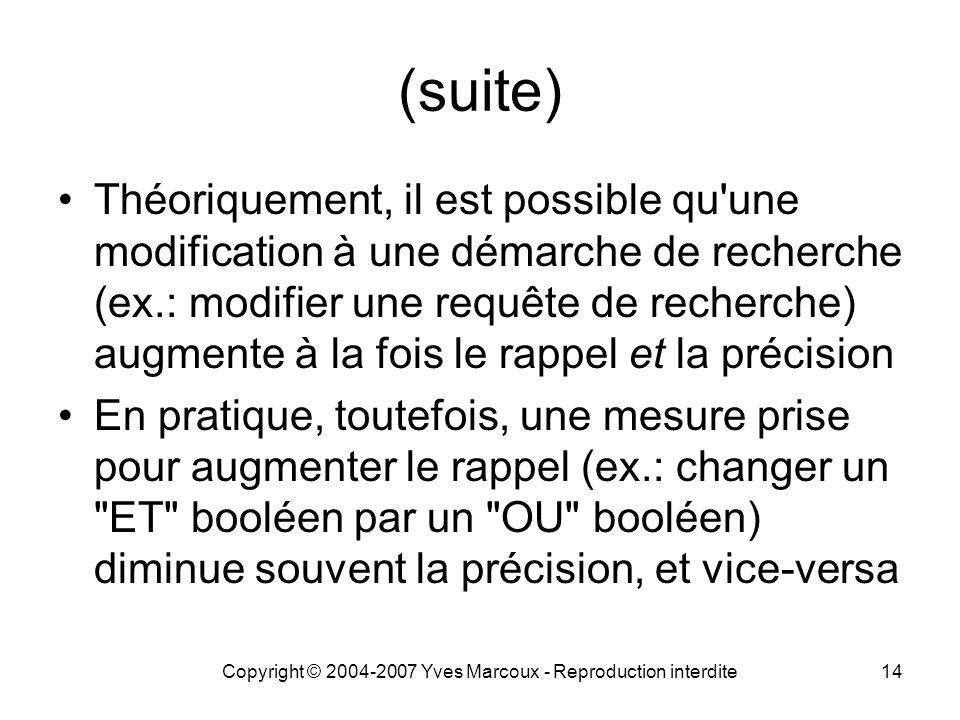 Copyright © 2004-2007 Yves Marcoux - Reproduction interdite14 (suite) Théoriquement, il est possible qu'une modification à une démarche de recherche (