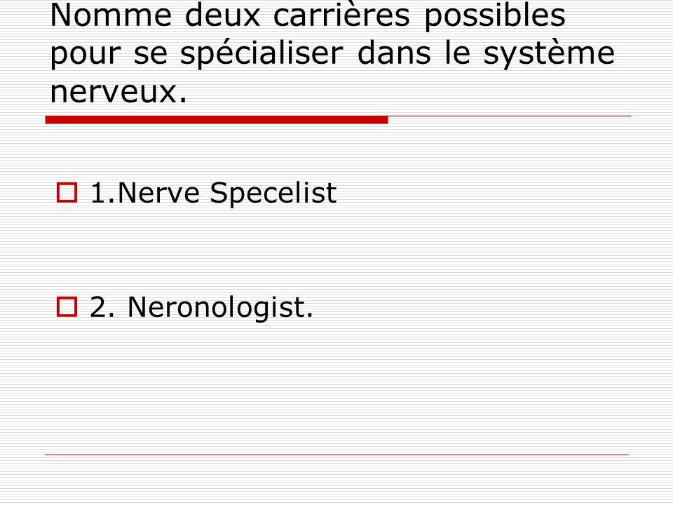 Nomme deux carrières possibles pour se spécialiser dans le système nerveux.