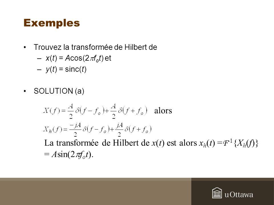 Exemples Trouvez la transformée de Hilbert de –x(t) = Acos(2 f o t) et –y(t) = sinc(t) SOLUTION (a) alors La transformée de Hilbert de x(t) est alors x h (t) = F -1 {X h (f)} = Asin(2 f o t).