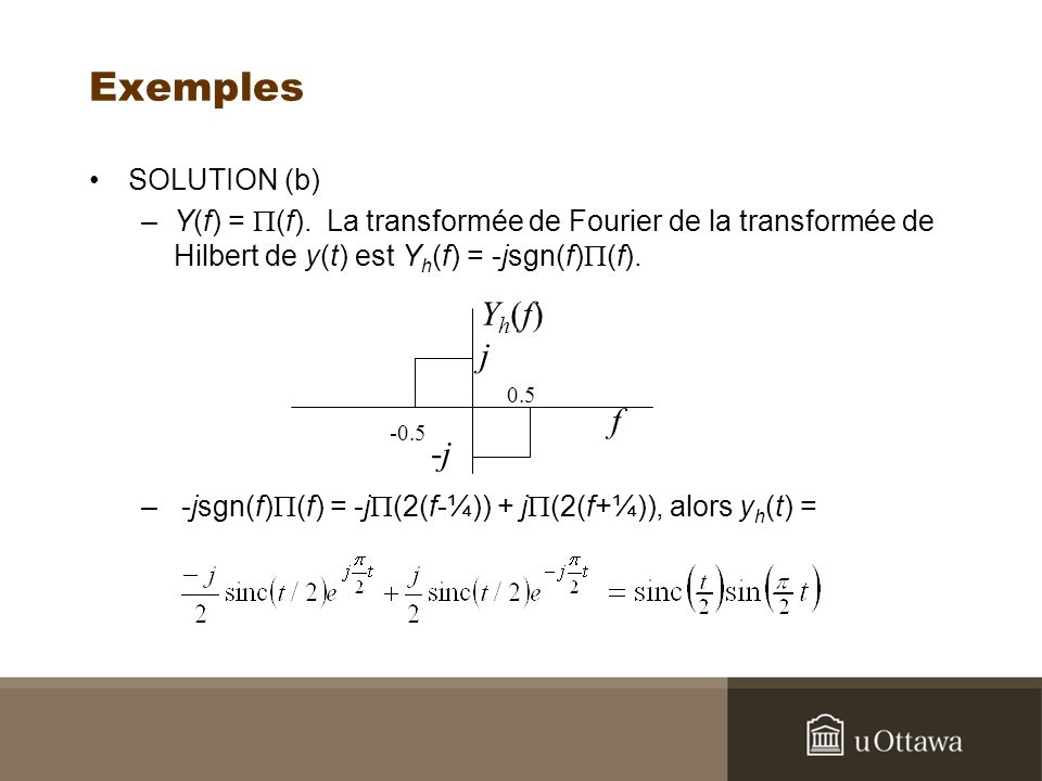 Exemples SOLUTION (b) –Y(f) = (f).