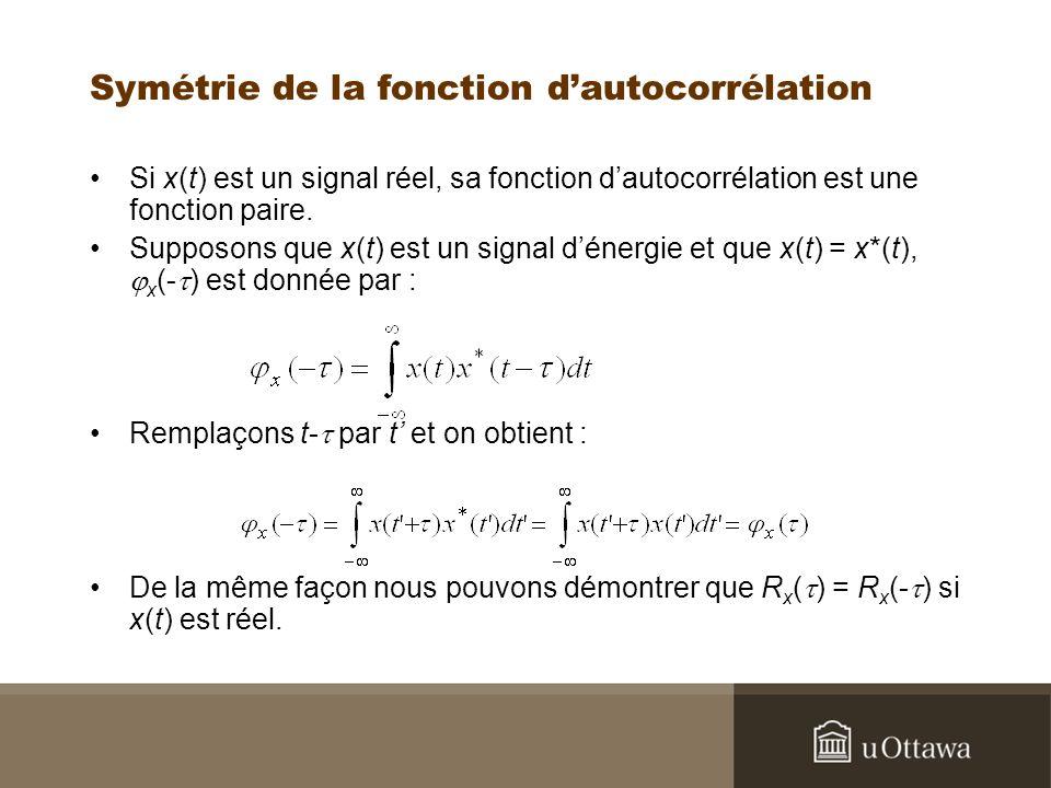 Symétrie de la fonction dautocorrélation Si x(t) est un signal réel, sa fonction dautocorrélation est une fonction paire.