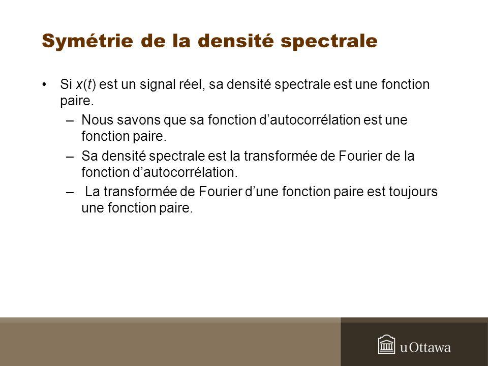 Symétrie de la densité spectrale Si x(t) est un signal réel, sa densité spectrale est une fonction paire.
