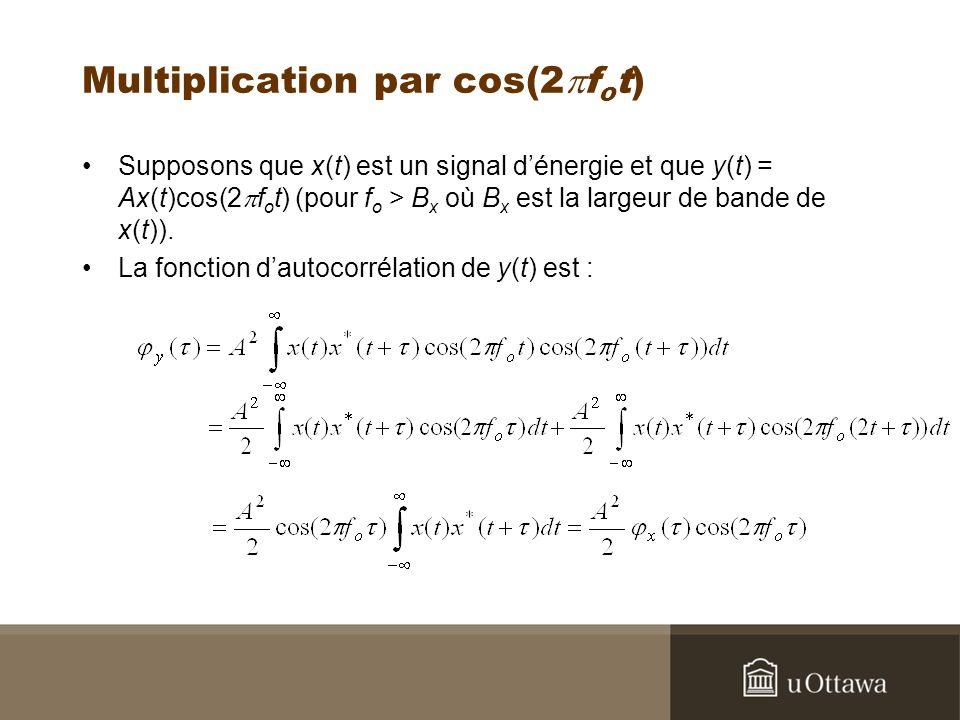 Multiplication par cos(2 f o t) Supposons que x(t) est un signal dénergie et que y(t) = Ax(t)cos(2 f o t) (pour f o > B x où B x est la largeur de bande de x(t)).