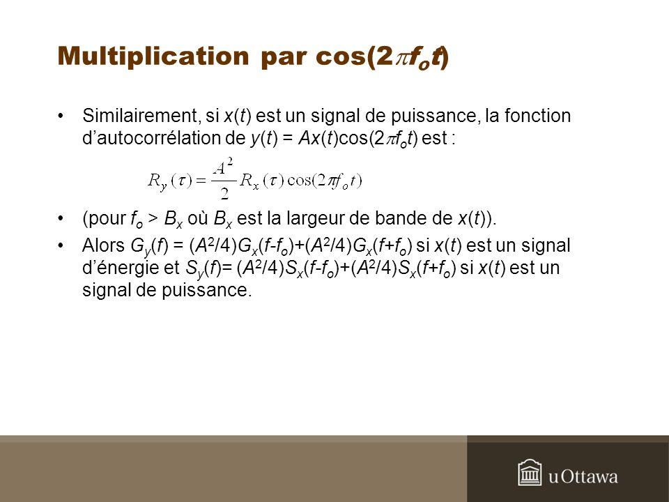 Multiplication par cos(2 f o t) Similairement, si x(t) est un signal de puissance, la fonction dautocorrélation de y(t) = Ax(t)cos(2 f o t) est : (pour f o > B x où B x est la largeur de bande de x(t)).