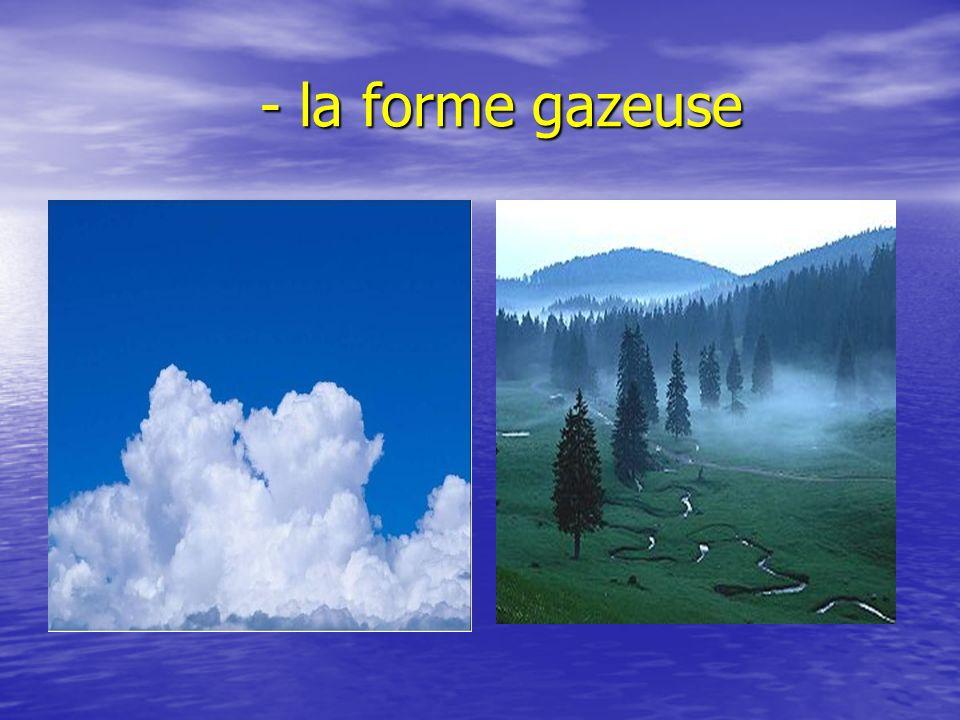 - la forme gazeuse - la forme gazeuse