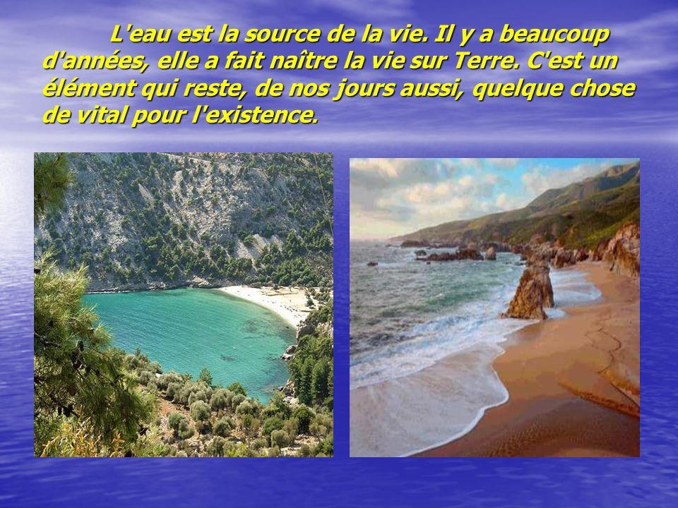 L'eau est la source de la vie. Il y a beaucoup d'années, elle a fait naître la vie sur Terre. C'est un élément qui reste, de nos jours aussi, quelque