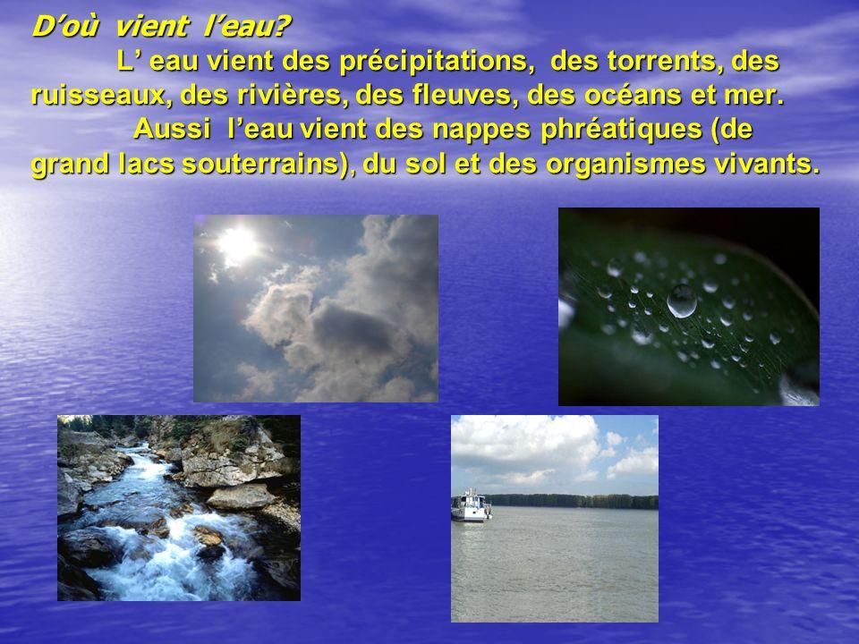 Doù vient leau? L eau vient des précipitations, des torrents, des ruisseaux, des rivières, des fleuves, des océans et mer. Aussi leau vient des nappes
