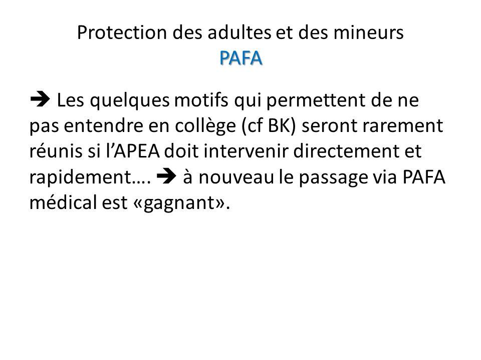 PAFA Protection des adultes et des mineurs PAFA Les quelques motifs qui permettent de ne pas entendre en collège (cf BK) seront rarement réunis si lAP