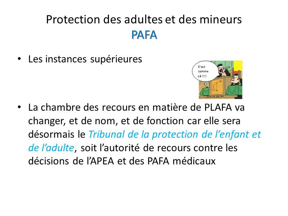 PAFA Protection des adultes et des mineurs PAFA Les instances supérieures La chambre des recours en matière de PLAFA va changer, et de nom, et de fonction car elle sera désormais le Tribunal de la protection de lenfant et de ladulte, soit lautorité de recours contre les décisions de lAPEA et des PAFA médicaux