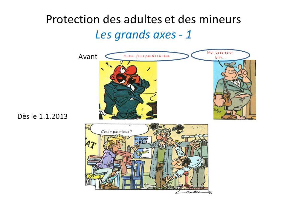 Protection des adultes et des mineurs Les grands axes - 1 Avant Dès le 1.1.2013 Cest-y pas mieux ? Ouais… jsuis pas très à laise Moi, ça serre un brin