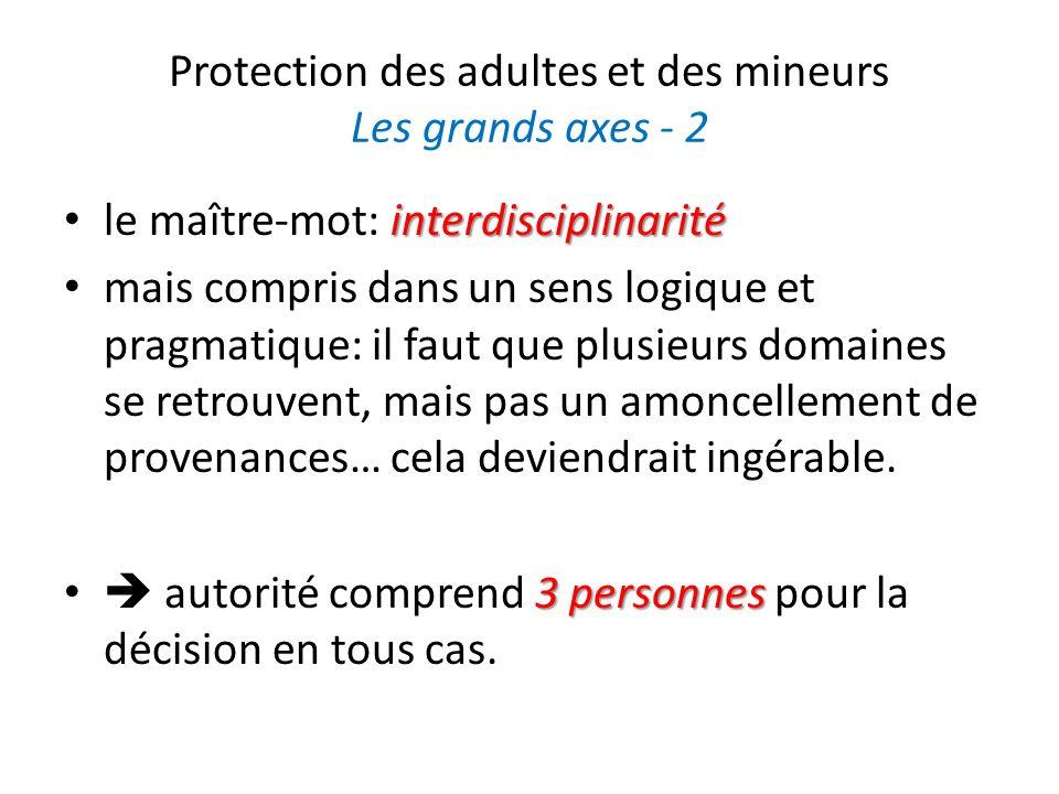 Protection des adultes et des mineurs Les grands axes - 2 interdisciplinarité le maître-mot: interdisciplinarité mais compris dans un sens logique et