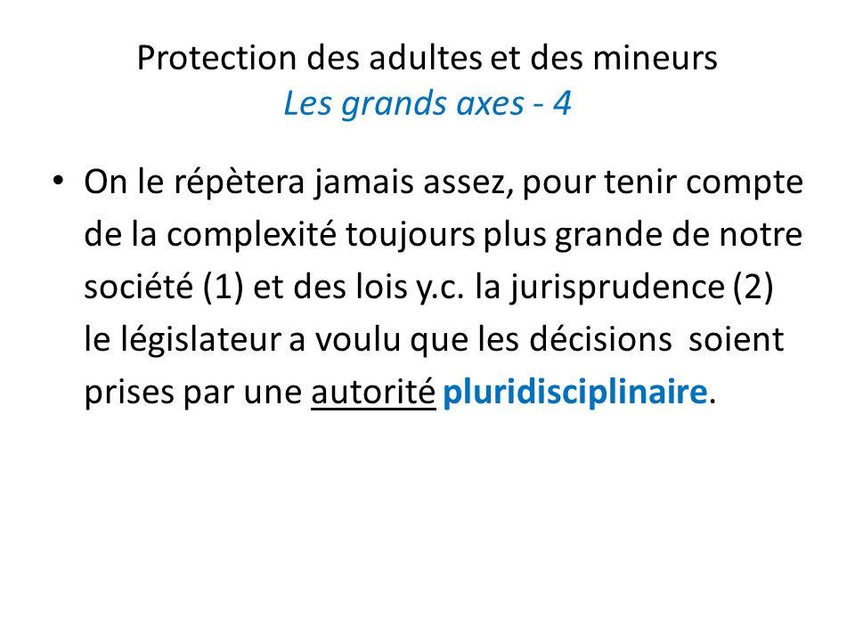 Protection des adultes et des mineurs Les grands axes - 4 On le répètera jamais assez, pour tenir compte de la complexité toujours plus grande de notre société (1) et des lois y.c.