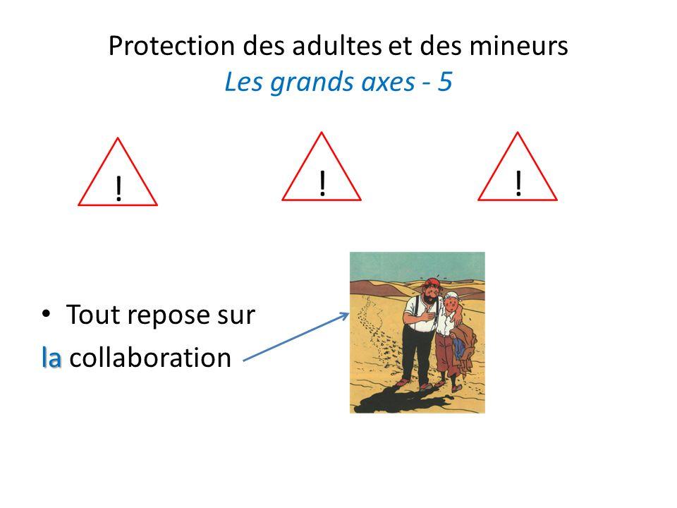 Protection des adultes et des mineurs Les grands axes - 5 Tout repose sur la la collaboration