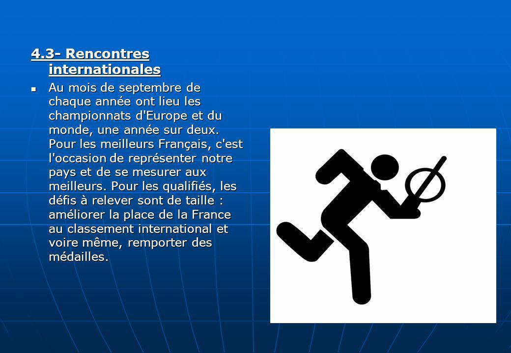 4.3- Rencontres internationales Au mois de septembre de chaque année ont lieu les championnats d'Europe et du monde, une année sur deux. Pour les meil