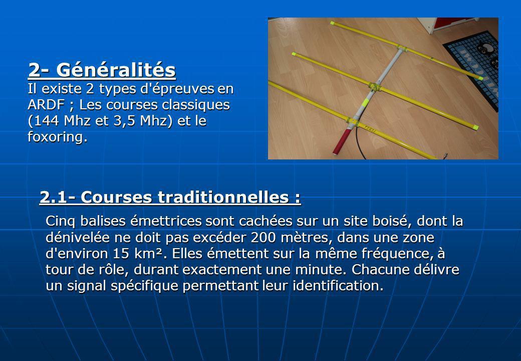 2.1- Courses traditionnelles : 2.1- Courses traditionnelles : Cinq balises émettrices sont cachées sur un site boisé, dont la dénivelée ne doit pas ex
