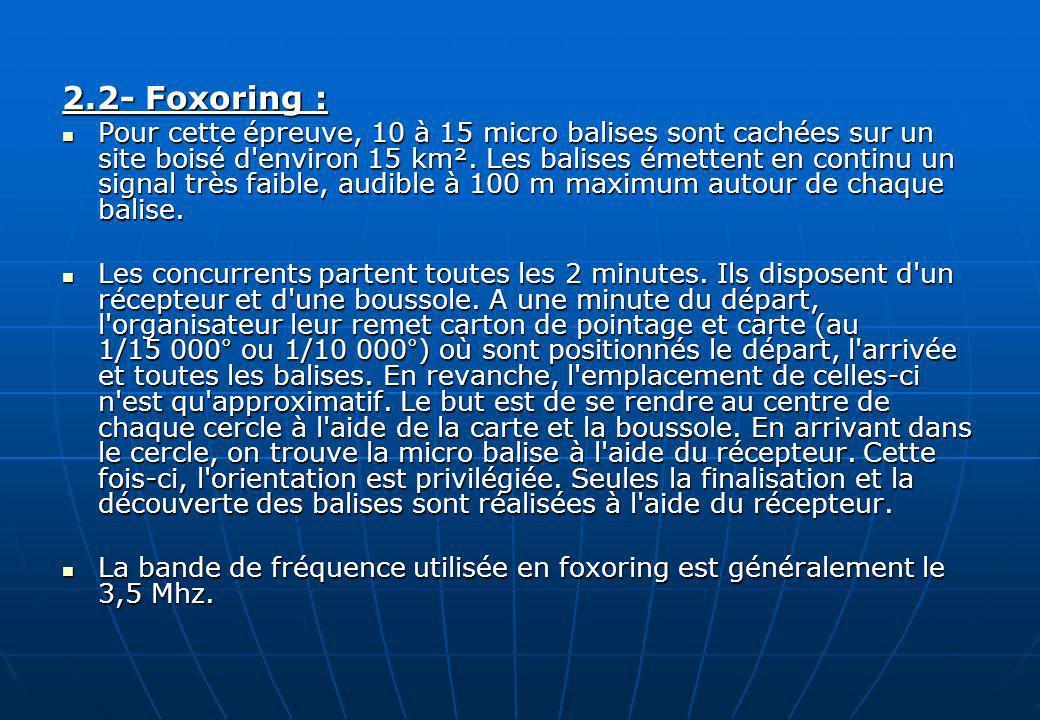2.2- Foxoring : Pour cette épreuve, 10 à 15 micro balises sont cachées sur un site boisé d'environ 15 km². Les balises émettent en continu un signal t