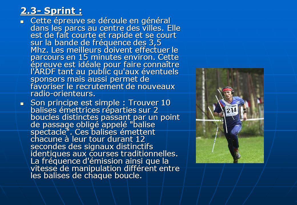 2.3- Sprint : Cette épreuve se déroule en général dans les parcs au centre des villes. Elle est de fait courte et rapide et se court sur la bande de f