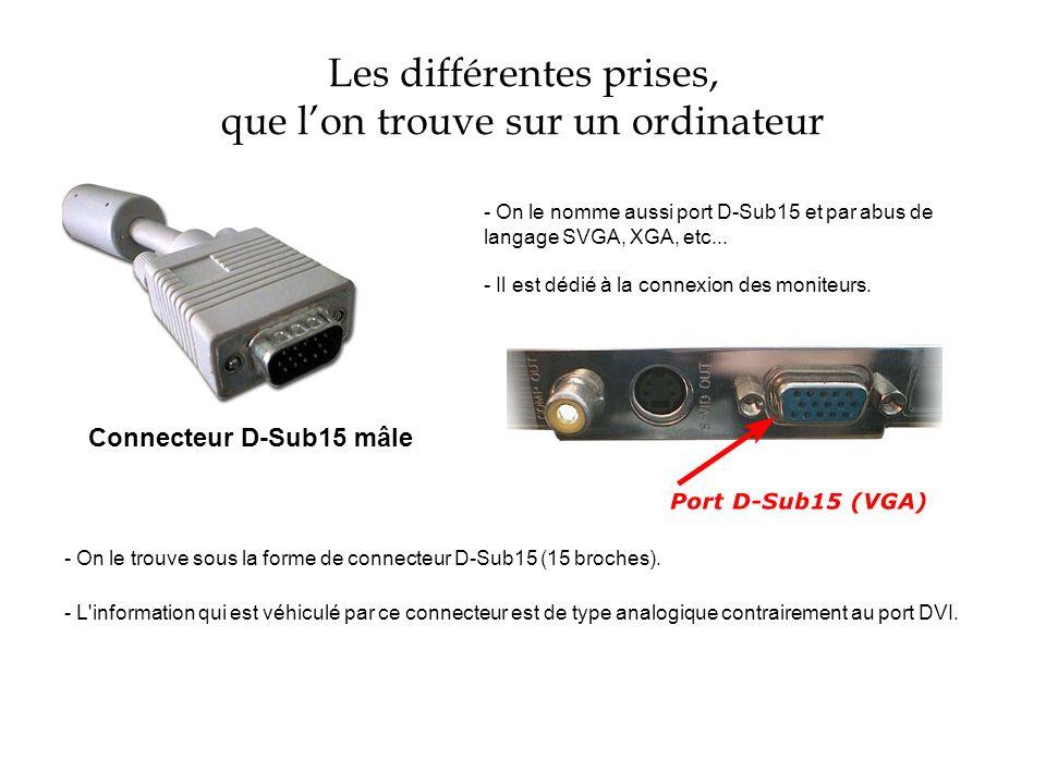 Les différentes prises, que lon trouve sur un ordinateur Connecteur D-Sub15 mâle - On le nomme aussi port D-Sub15 et par abus de langage SVGA, XGA, et