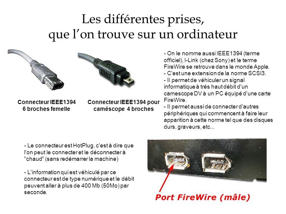 Les différentes prises, que lon trouve sur un ordinateur Connecteur IEEE1394 6 broches femelle Connecteur IEEE1394 pour caméscope 4 broches - On le no