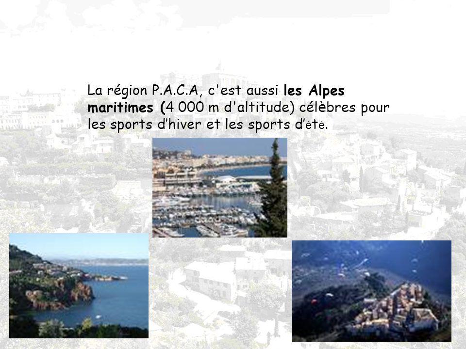 La région P.A.C.A, c est aussi les Alpes maritimes (4 000 m d altitude) cél è bres pour les sports dhiver et les sports d é t é.