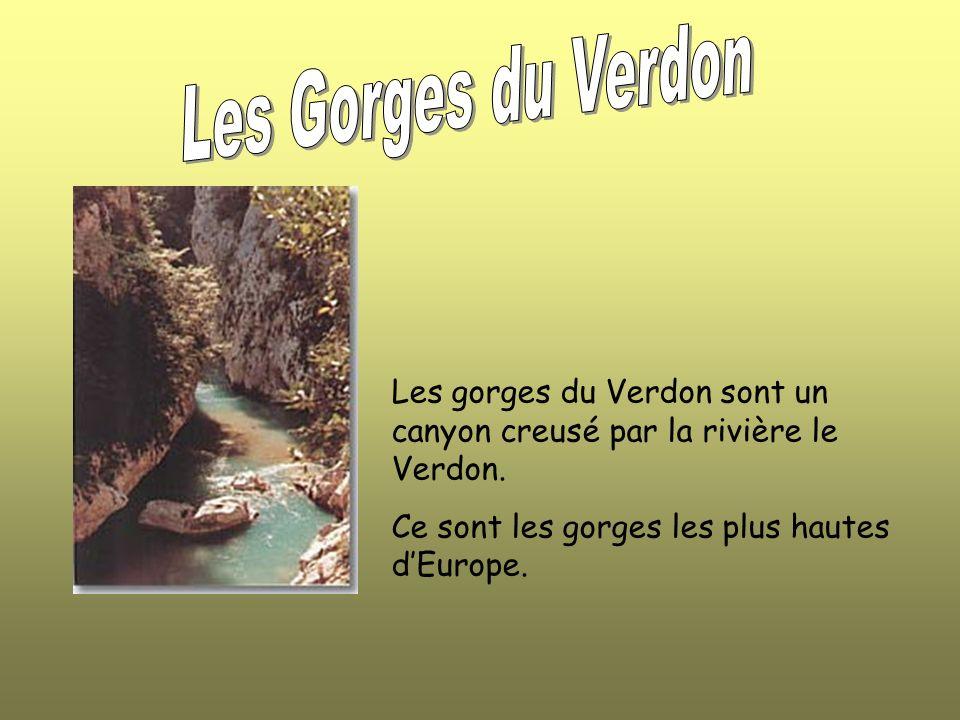 Les gorges du Verdon sont un canyon creusé par la rivière le Verdon.