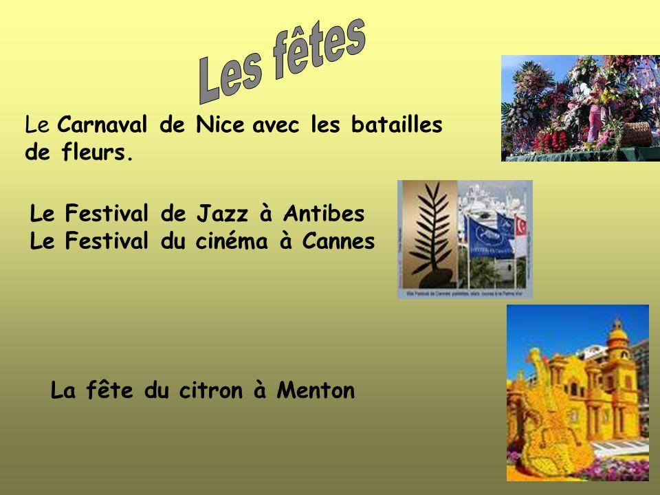 Le Carnaval de Nice avec les batailles de fleurs.