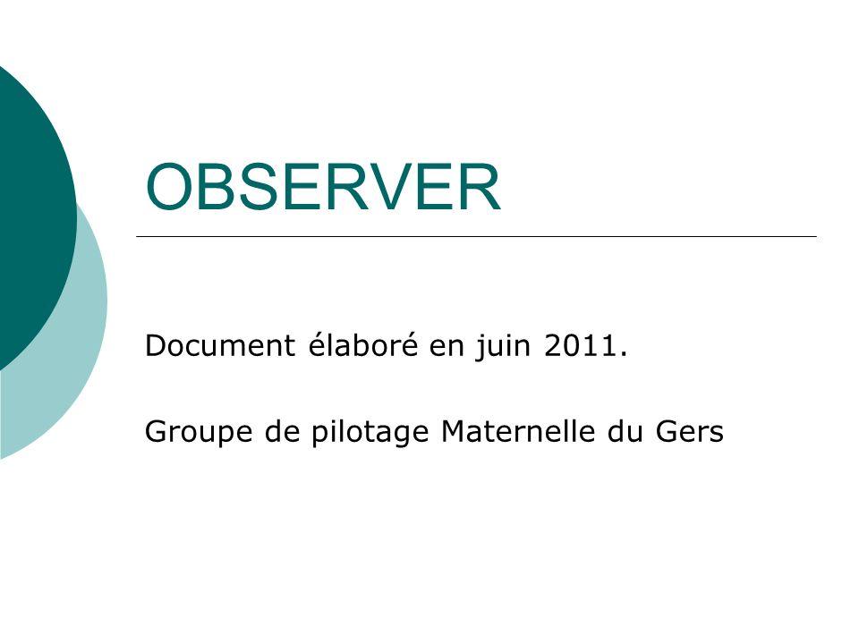 OBSERVER Document élaboré en juin 2011. Groupe de pilotage Maternelle du Gers