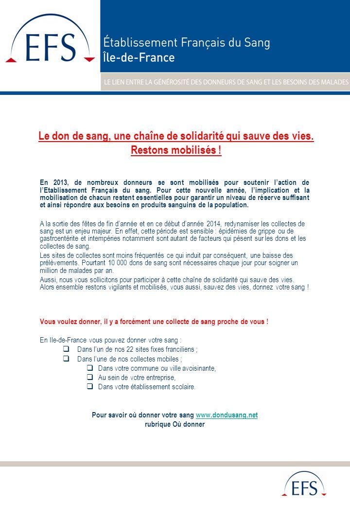 En 2013, de nombreux donneurs se sont mobilisés pour soutenir laction de lEtablissement Français du sang. Pour cette nouvelle année, limplication et l