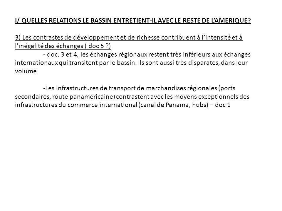 I/ QUELLES RELATIONS LE BASSIN ENTRETIENT-IL AVEC LE RESTE DE LAMERIQUE.